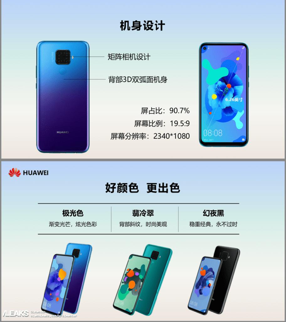 Especificaciones y características filtradas del Huawei Nova 5i Pro o Mate 30 Lite