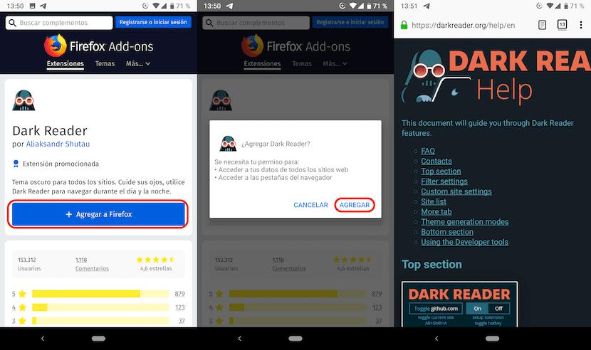 Instalar extensiones Firefox en Android