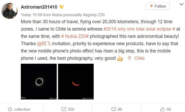 Fotos de eclipse solar tomadas con el Nubia Z20