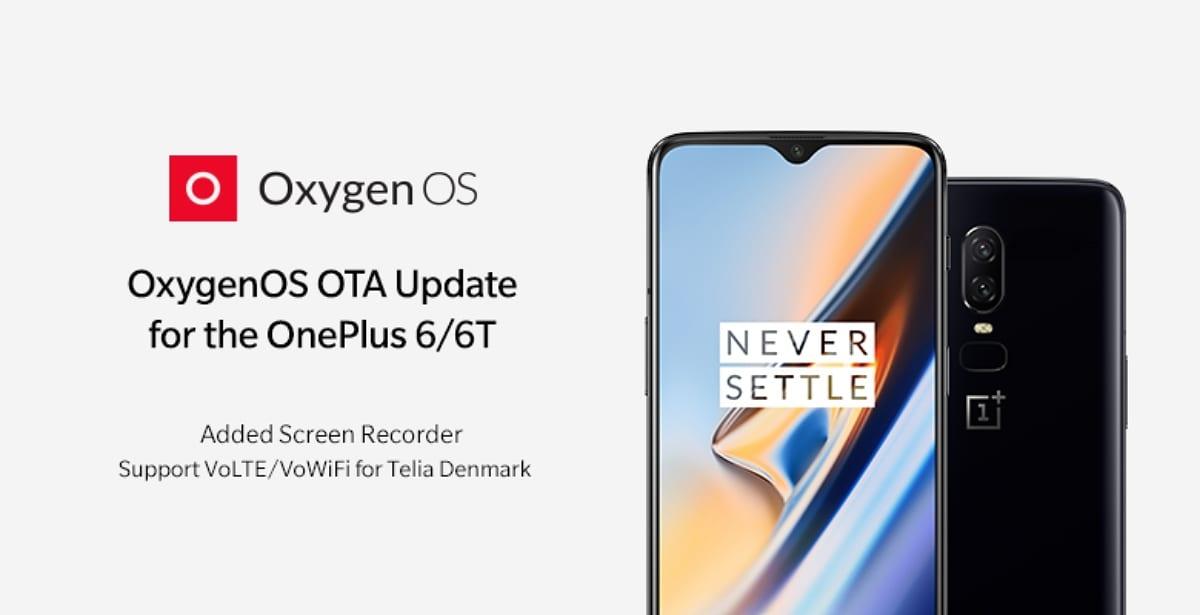 Nueva actualización de OxygenOS con grabador de pantalla para el OnePlus 6 y 6T