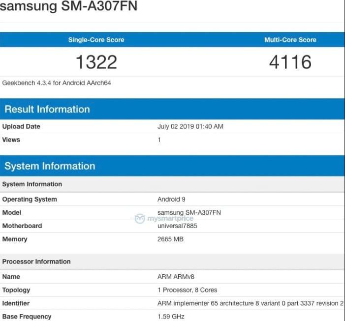 Supuesto Samsung Galaxy A30s en Geekbench