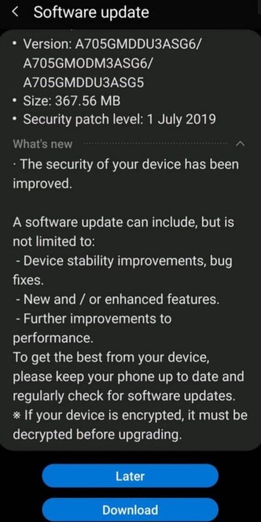 Actualización del Galaxy A70 con la cámara nocturna del Galaxy S10