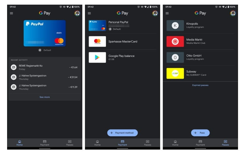 Google Pay modo oscuro