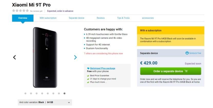 Precio del Xiaomi Mi 9T Pro en Europa