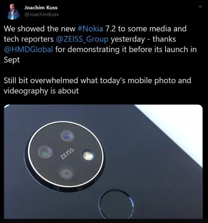 Cámara triple de ZEISS del Nokia 7.2 confirmada