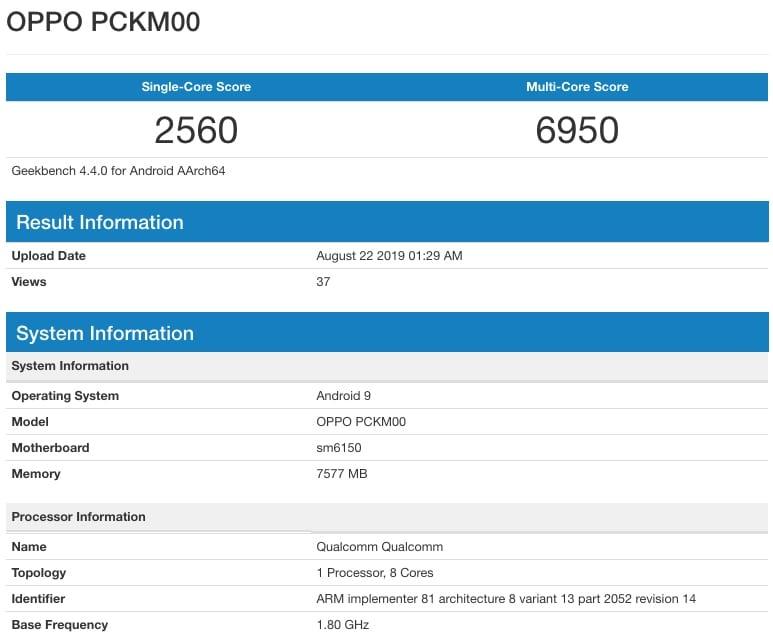 Teléfono gama media de Oppo en Geekbench