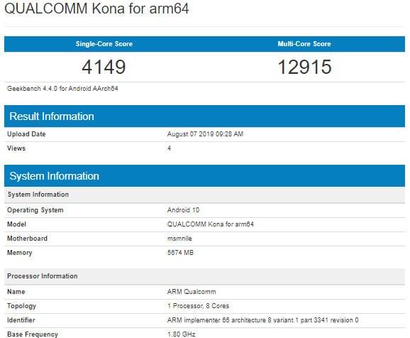 Resultados obtenidos por el procesador Snapdragon 865 en la plataforma de pruebas de Geekbench
