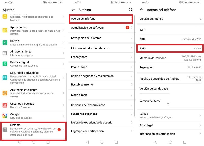 RAM instalada en Android