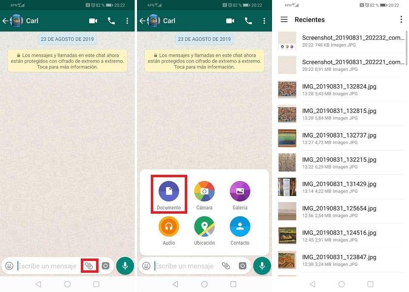 Whatsapp mandar fotos sin perdida de calidad