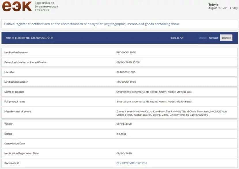 Xiaomi Mi A3 Pro certificado