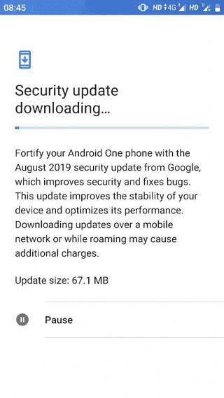 Parce de seguridad de agosto del 2019 del Xiaomi Mi A1