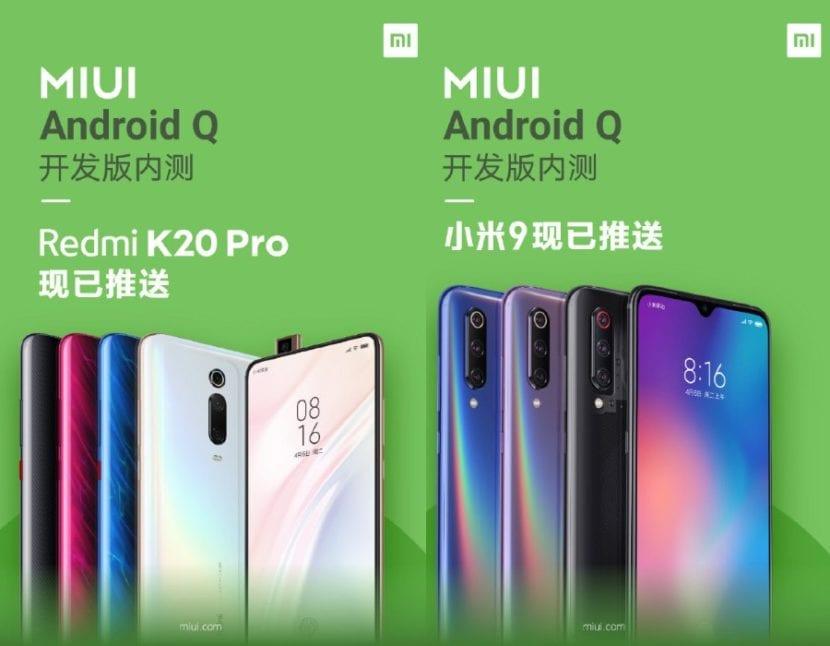Redmi K20 Pro y Xiaomi Mi 9 con Android Q beta pública