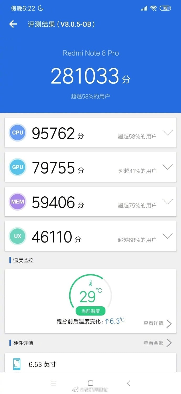 Redmi Note 8 Pro en AnTuTu