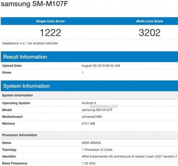 Samsung Galaxy M10s en Geekbench