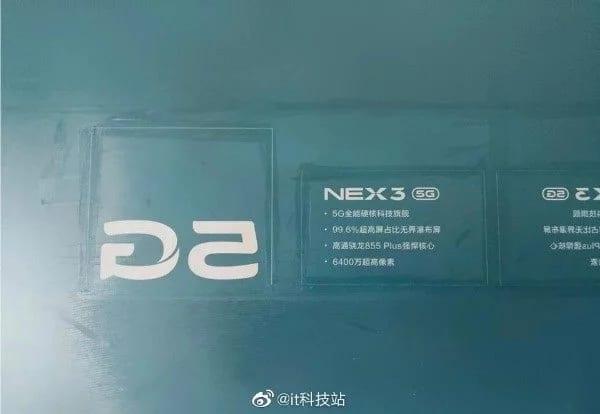 Especificaciones filtradas del Vivo Nex 3