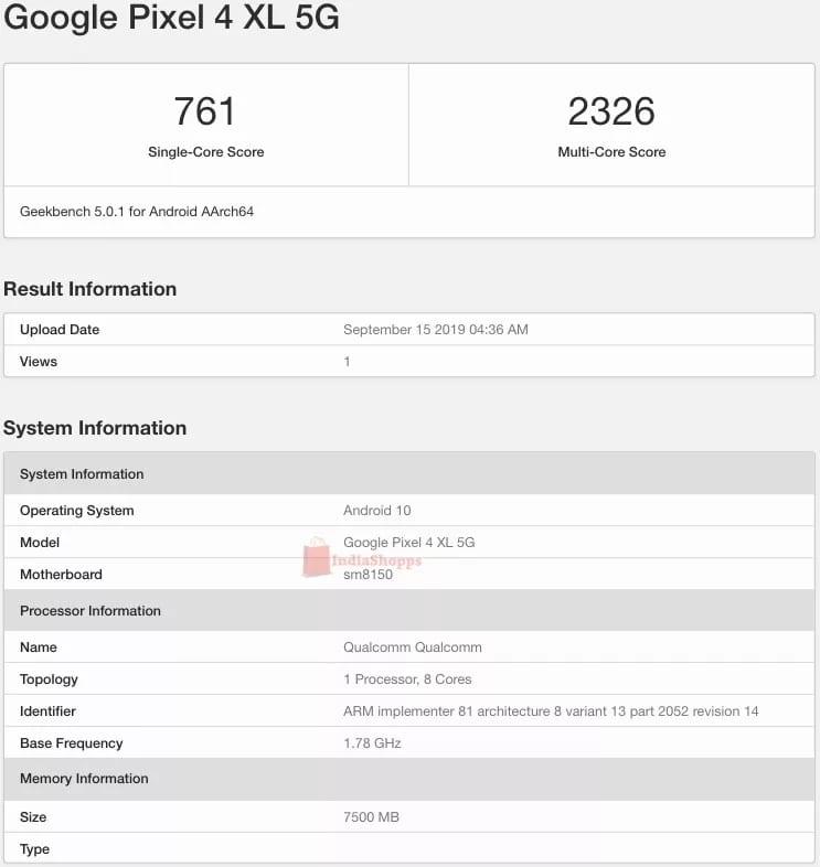 Google Pixel 4 XL 5G en Geekbench