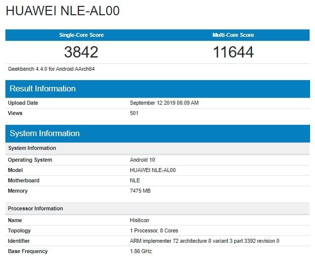 Huawei NLE-AL00 con Kirin 990 en Geekbench