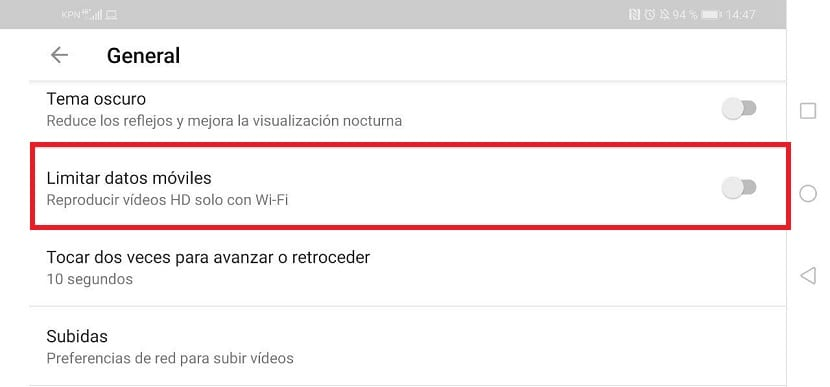 YouTube limitar datos moviles