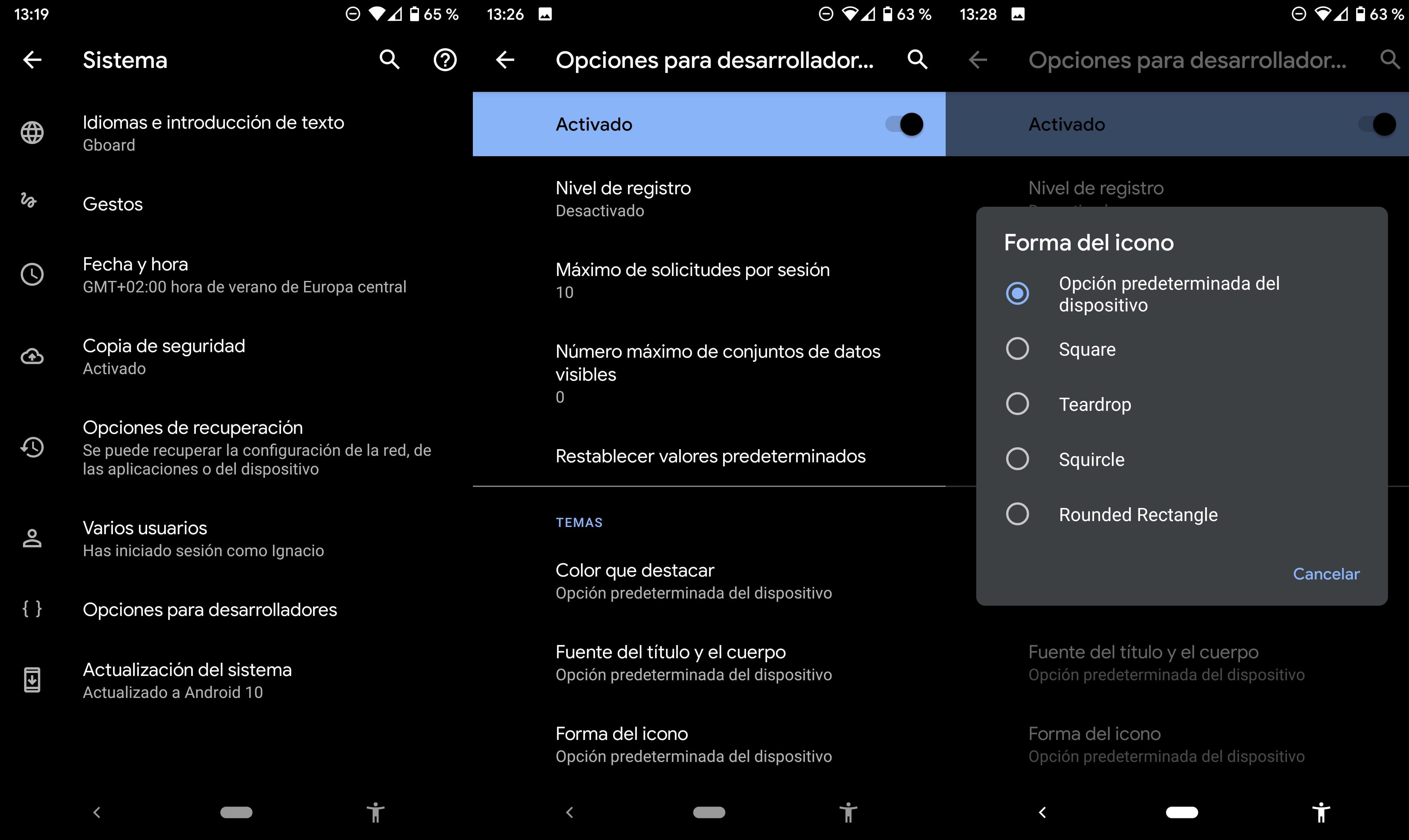 Cambiar forma de los iconos en Android 10