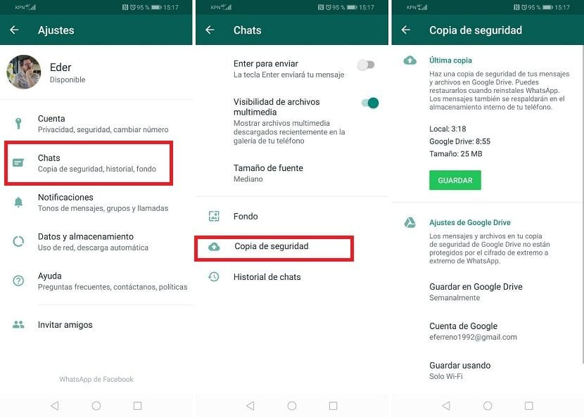 Copia seguridad chats WhatsApp