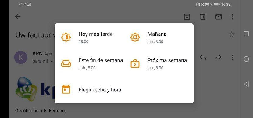 Gmail posponer