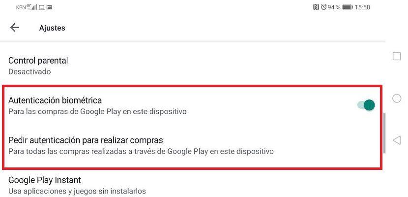 Google Play compras huella