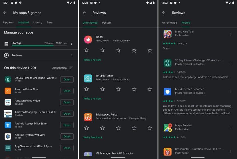 Google Play nuevas valoraciones