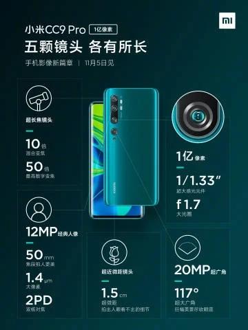 Cámara del Xiaomi Mi CC9 Pro