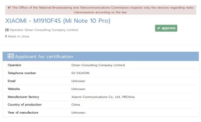 Xiaomi Mi Note 10 Pro certificado por la NBTC