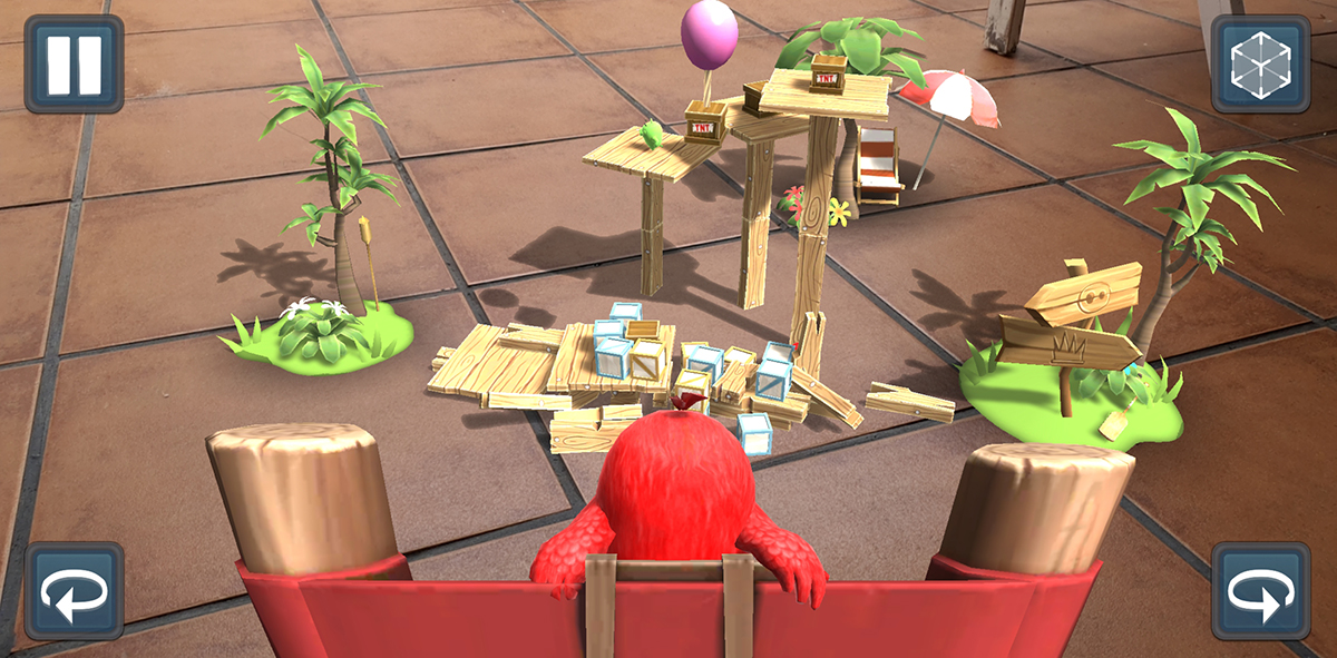 Tirando en Angry Birds AR: Isle of Pigs