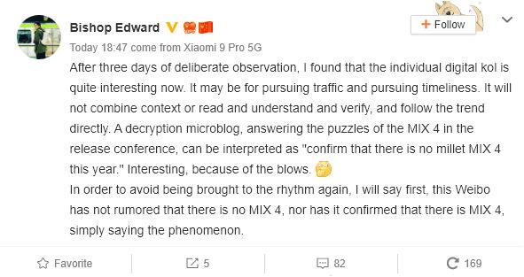 El Xiaomi Mi MIX 4(cuatro) podría lanzarse en el 2020
