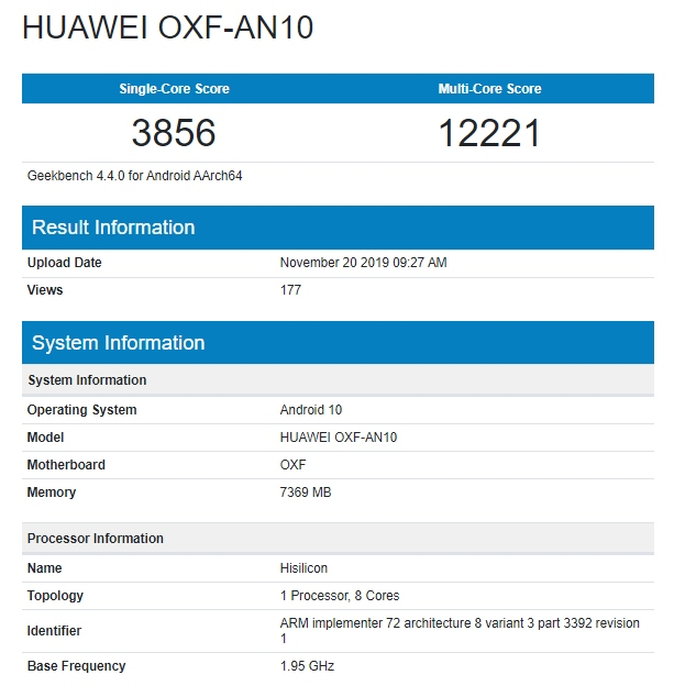 Honor V30 en Geekbench
