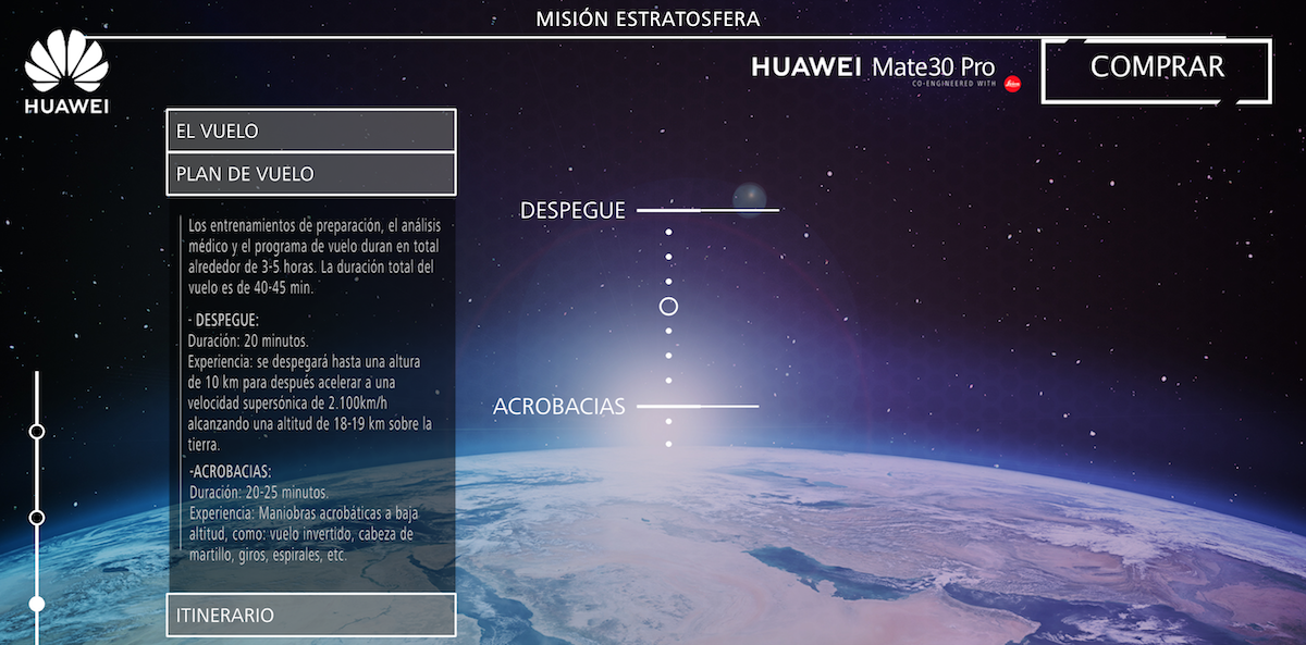 Huawei Misión Estratosfera Itinerario