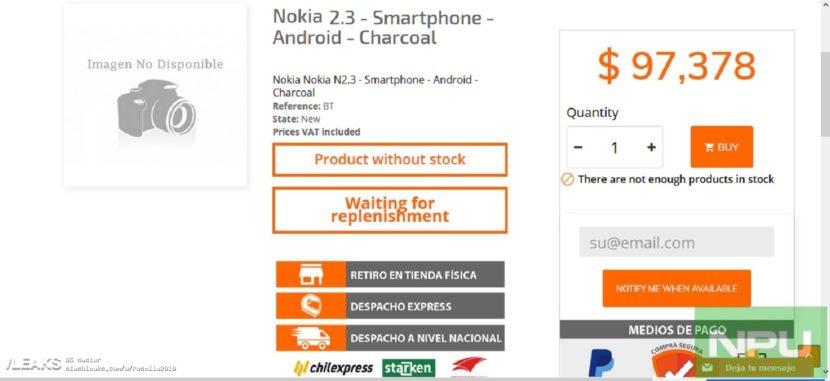 Precio filtrado del Nokia 2.3
