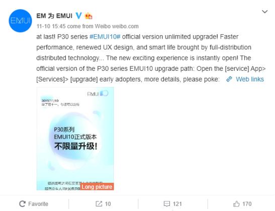 Los Huawei® P30 reciben EMUI 10(diez) estable