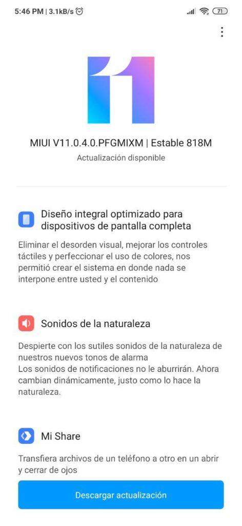 Actualización de MIUI 11 estable para el Redmi Note 7