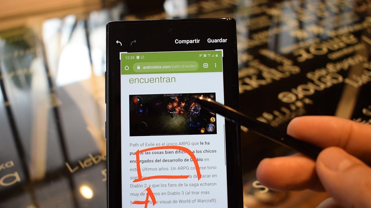 Tomar informativos en pantalla del Galaxy Note 10