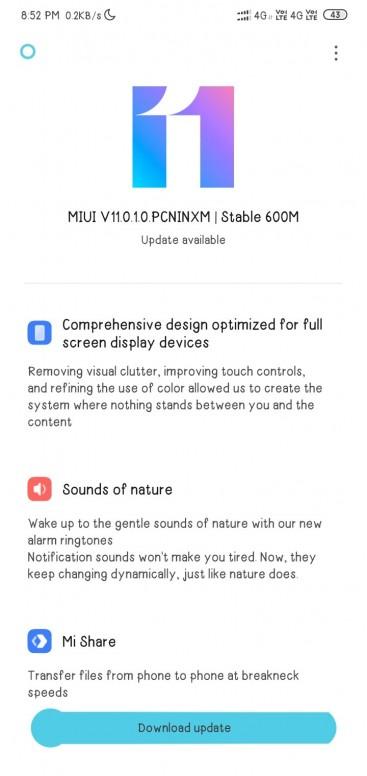 Actualización de MIUI 11 para el Redmi 8
