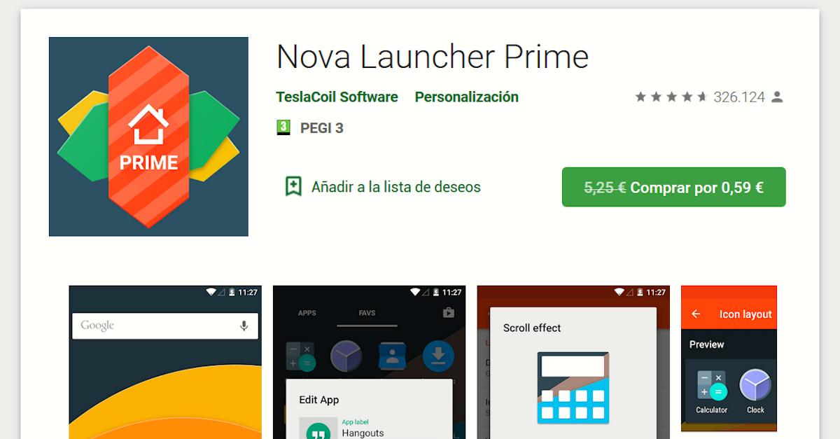 Nova Launcher Prime disponible por 0,59 euros por tiempo limitado
