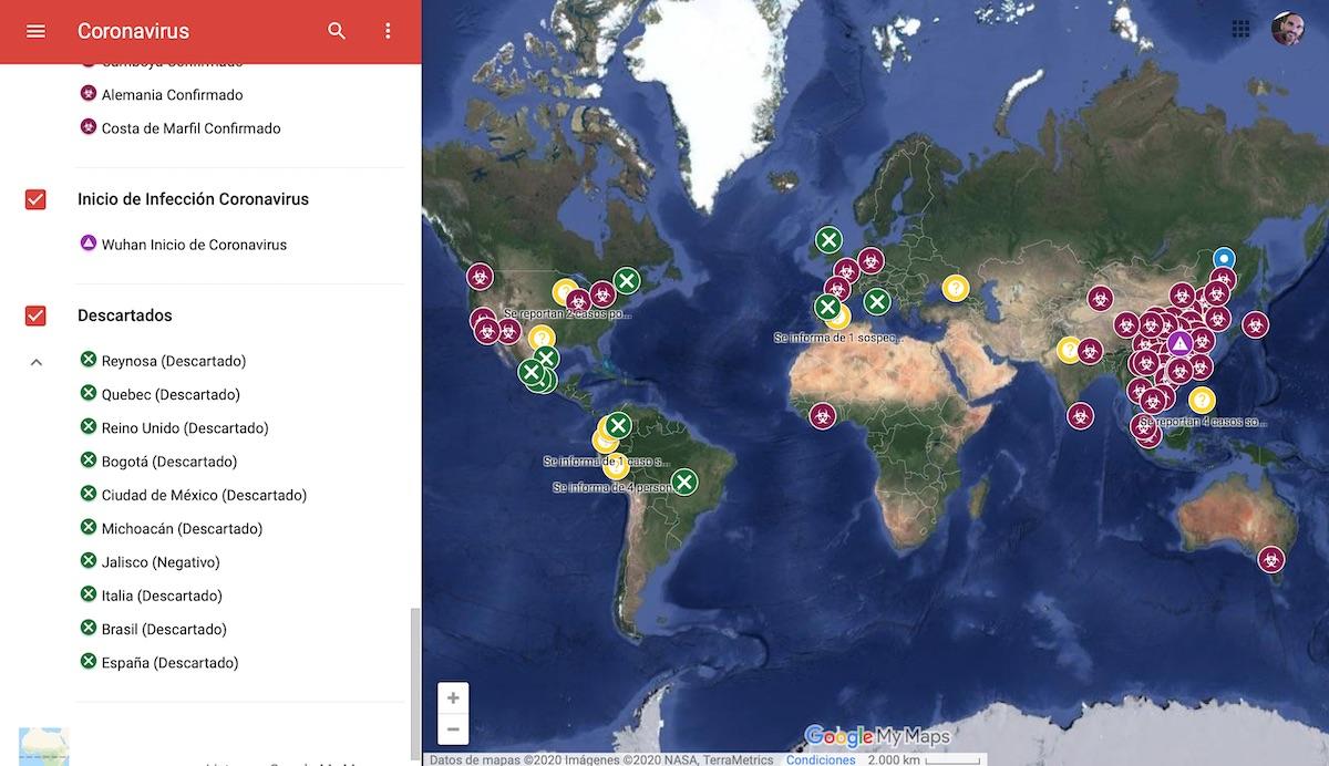 Coronavirus Google Maps