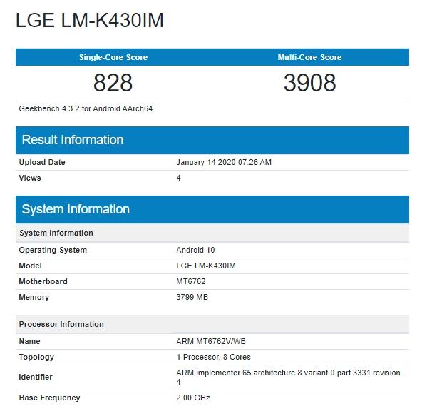 Supuesto LG K43 en Geekbench