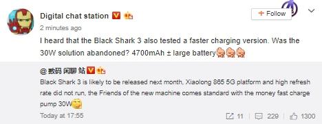 Algunas especificaciones reveladas del Xiaomi Black Shark 3