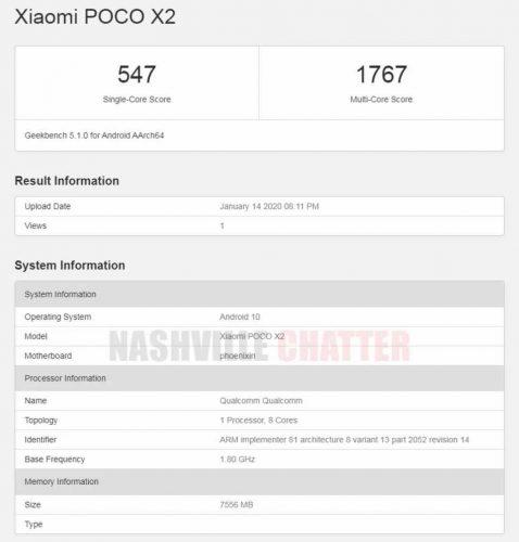 Xiaomi Poco X2 en Geekbench