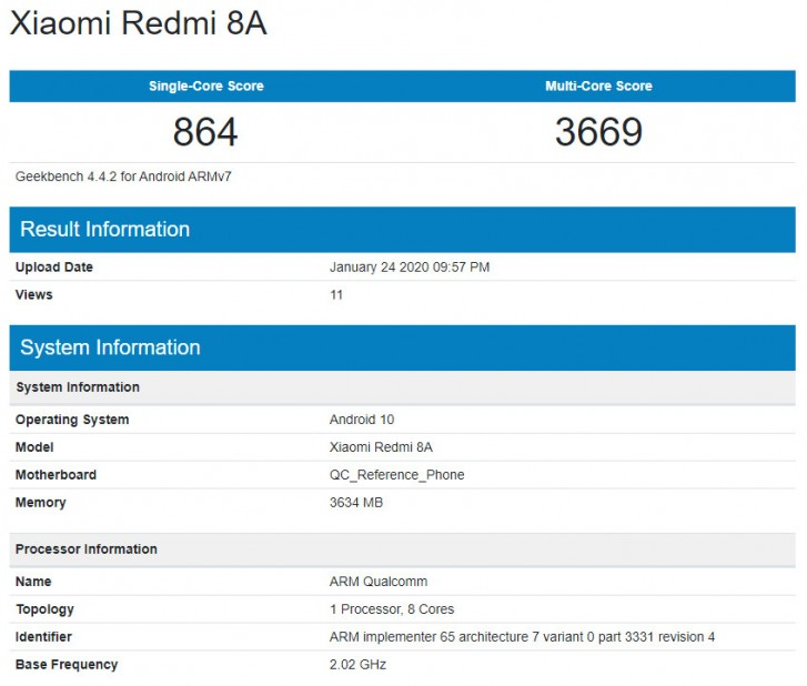 Redmi 8A con Android 10 en Geekbench