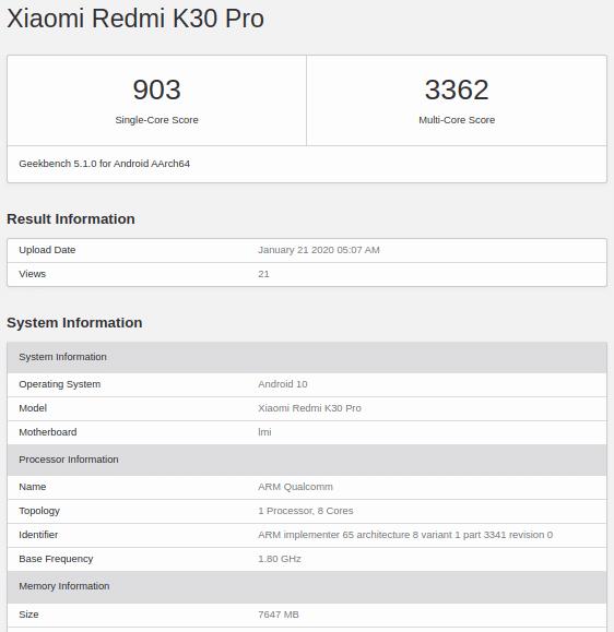 Redmi K30 Pro en Geekbench