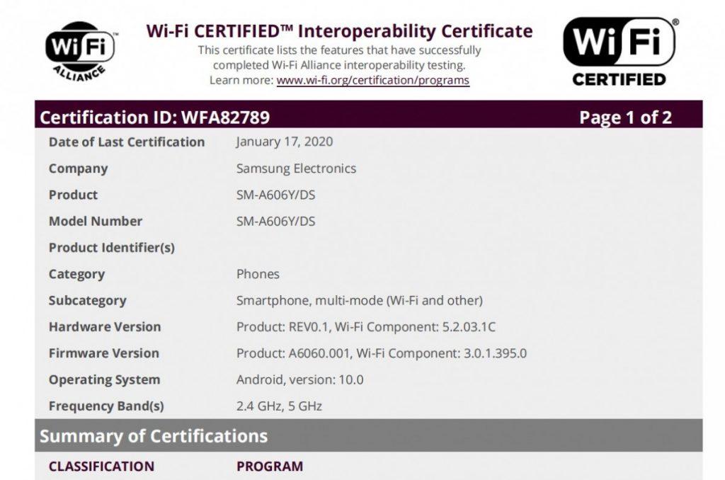 Samsung Galaxy A60 certificado con Android 10 en Wi-Fi Alliance
