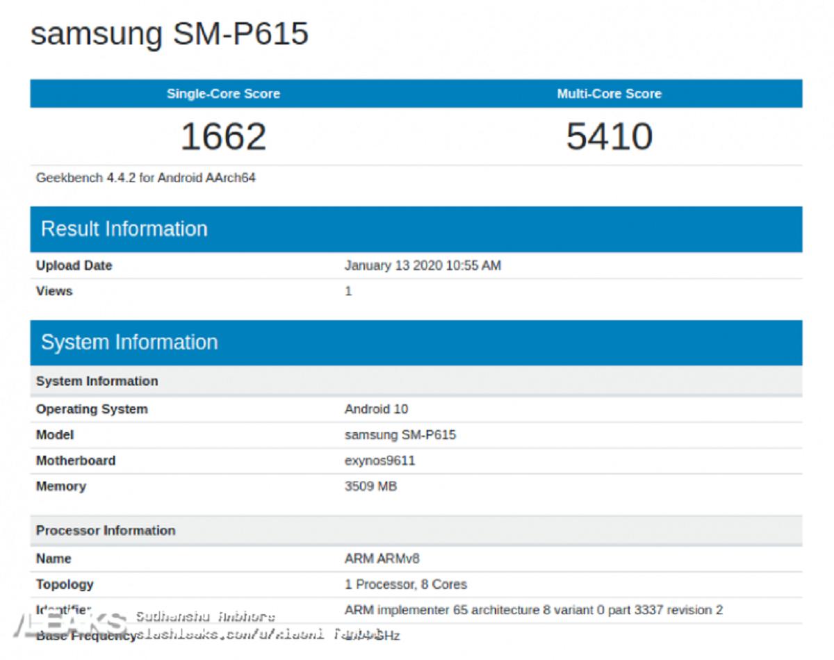 tablet Samsung SM-P615.