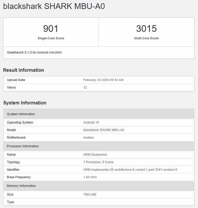 Black Shark 3 Pro en Geekbench