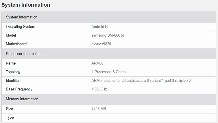 Android 11 es probado por el Galaxy S10 Plus en Geekbench