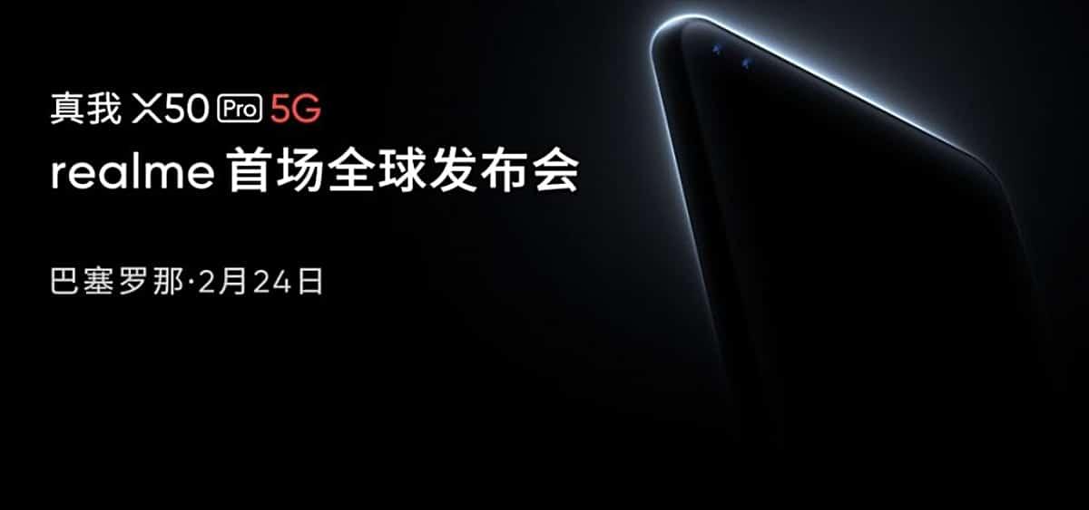 Anuncio de lanzamiento del Realme X50 Pro 5G